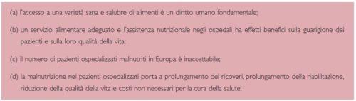 Razionale dell'iniziativa del Comitato dei Ministri del Consiglio d'Europa sull'alimentazione e l'assistenza nutrizionale.