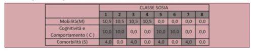 """Distribuzione delle quote di """"pesatura"""" ai fini della determinazione delle tariffe associate a ciascuna classe in base alle possibili combinazioni degli indicatori di fragilità"""