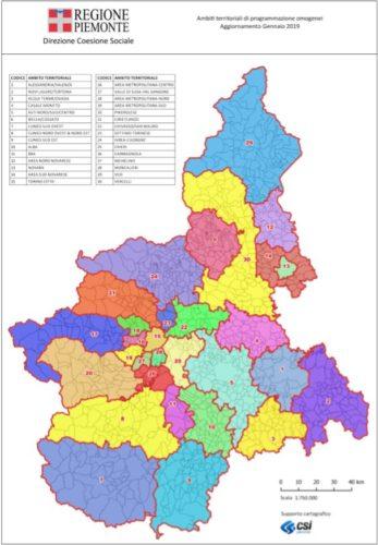 Cartina Distretti Coesione Sociale Piemonte