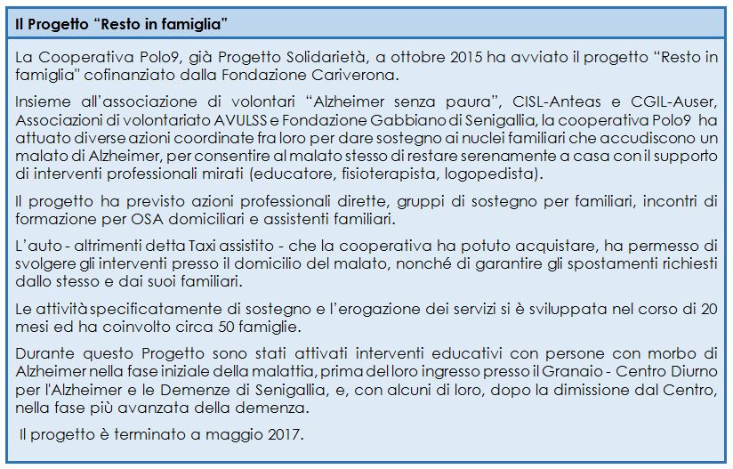 """Il progetto """"Resto in famiglia"""" della cooperativa sociale Polo9 di Ancona"""