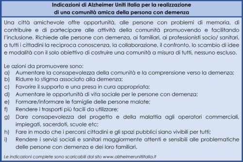 Indicazioni per la realizzazione di una comunità amica della persona con demenza.
