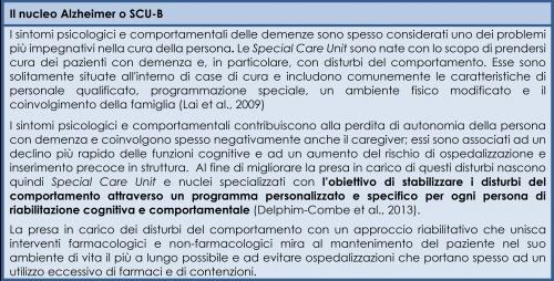 Il nucleo Alzheimer o SCU-B (Special Care Unit): definizione
