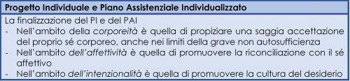 La finalizzazione del Progetto Individuale e del Piano Assistenziale Individualizzato