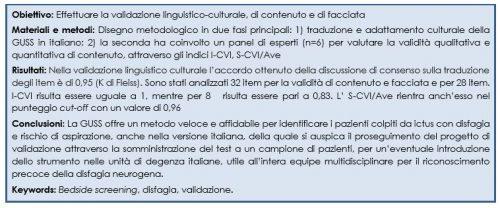 "Lo screening infermieristico della disfagia del paziente con ictus in fase acuta: validazione italiana del contenuto del ""Gugging Swallowing Screen"""