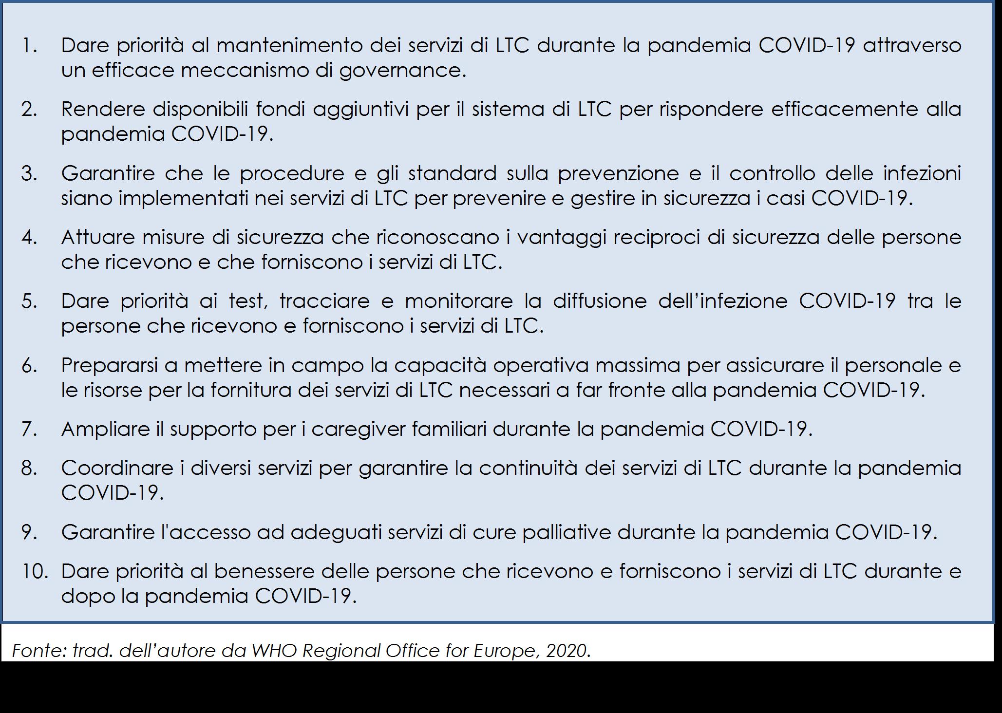 obiettivi politici per prevenire e gestire la pandemia COVID-19 nei servizi di LTC